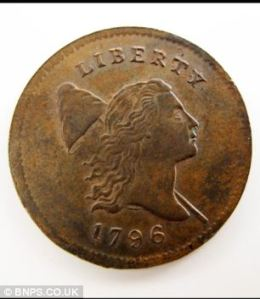 The half-cent from 1796 that Mark Hillary had collected