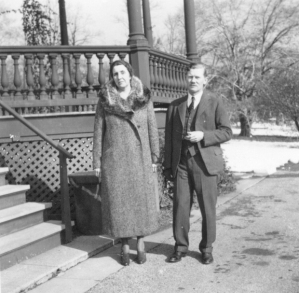 Libbie and Carl outside the Rawson House in the late 1930s