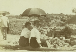 Zillah Dinsmoor and friend watching the excavations at Corinth, ca. 1911