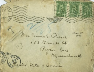 One of the postal envelopes Zillah used to send to her mother. Note the Flying Mercury stamps (click to enlarge).