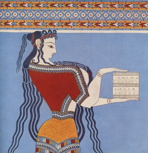 """Fresco from Tiryns, from the """"Grosse Frauenprozession"""" (Tiryns II, pl. VIII)."""