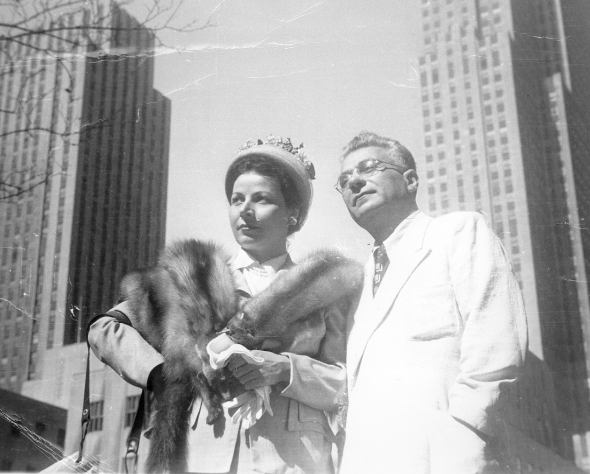 Elias Venezis and Eleni Nikolaidi, New York 1949