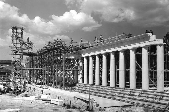 The Stoa of Attalos under construction, 1955. Photo: ASCSA, Agora Excavations