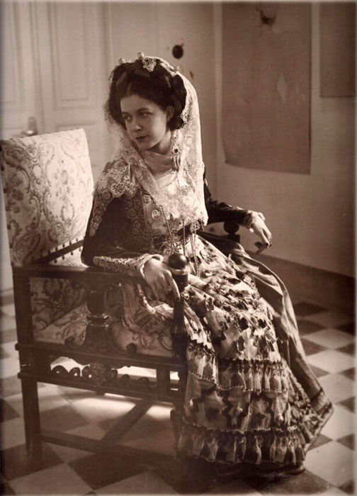 Portrait of Maria Hatzanesti-Pesmazoglou in the traditional costume of Corfu.  From the 1920s.  Alekos Levidis Archive.