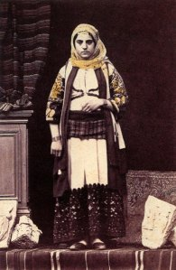 Woman of the upper social class in Attic dress.  Photograph of Philippos Margaritis, 19th c.