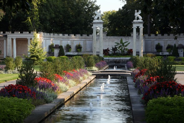 The Untermyer Gardens after their recent restoration. The two sphinxes a the back were also made by Manship (ca. 1908-1912).