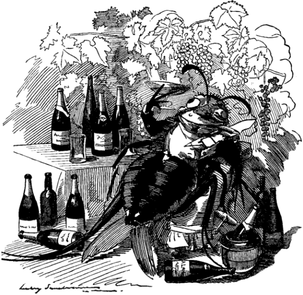 Cartoon from Punch magazine (1890) with Phylloxera feasting with French wines
