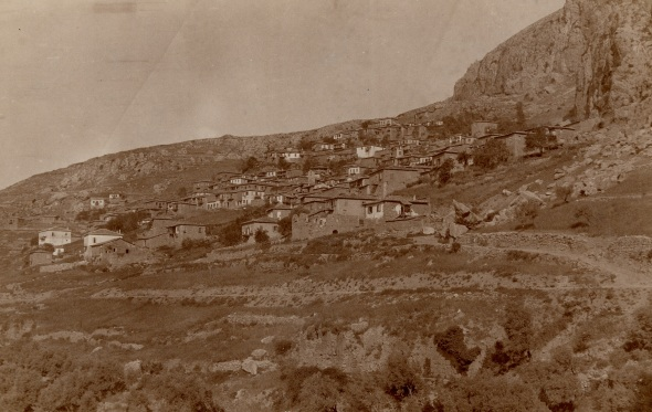 Delphi before the excavations, April 1891. Photo ASCSA Archives. Click to enlarge.