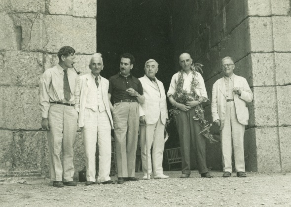 Celebrating Alan Wace's 60th birthday at Mycenae, July 13, 1939. Left to right: Carl Blegen, Konstantinos Kourouniotis, Spyridon Marinatos, Bert H. Hill, Aan Wace, Georg Karo.