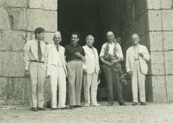 Celebrating Alan Wace's 60th birthday at Mycenae, July 13, 1939. Left to right: Carl Blegen, Konstantinos Kourouniotis, Spyridon Marinatos, Bert H. Hill, Aan Wace, Georg Karo.