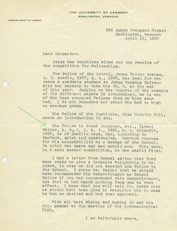 Samuel Bassett to Edward Capps about Israel Walker, April 10, 1930 (ASCSA AdmRec)