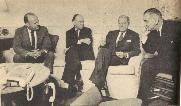 President Lyndon Johnson convening with the U.S. Ambassadors to Cyprus (Taylor Belcher), Turkey (Raymond Hare), and Greece (Henry Labouisse), 1964. From ΕΙΚΟΝΕΣ, issue 25 Sept. 1964, p. 16