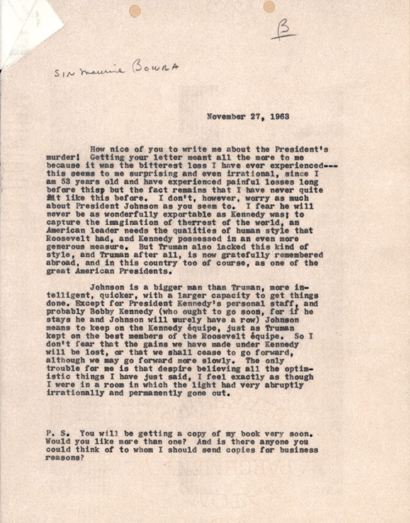Alsop writing to Bowra about President Kennedy's assassination