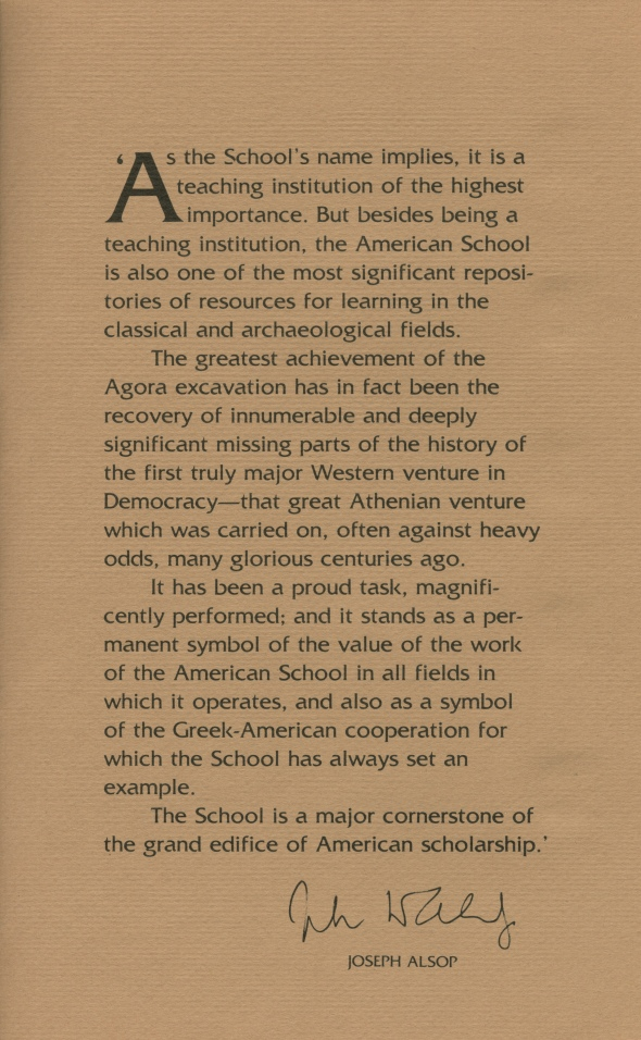 Alsop's introductory remarks in the ASCSA Centennial brochure, 1981