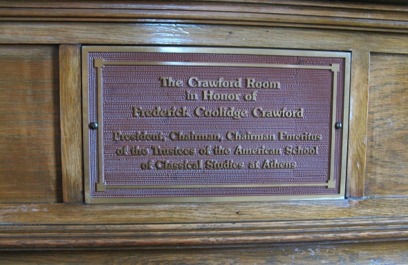 The Crawford commemorative plaque at the Loring Hall saloni