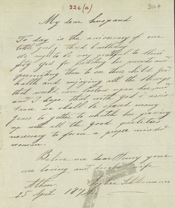 One of Sophia's first English letters to her husband, 1874
