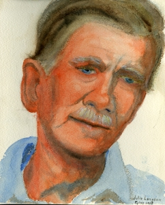 Carl Blegen,1958. Watercolor by Julie Langsam. ASCSA Archives, Carl W. Blegen Papers.