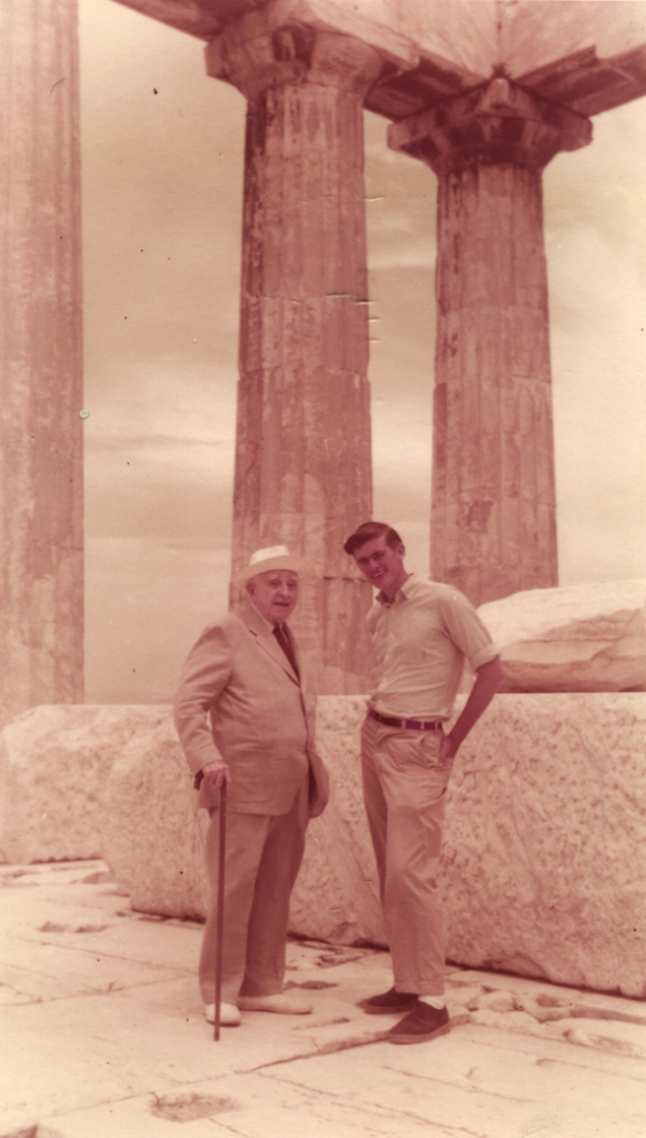 Bert Hodge Hill, always the perfect host, showing the Greek antiquities to young Nicholas Canaday Spitzer, grandson of Ward Canaday, President of the ASCSA Board of Trustees, 1957.