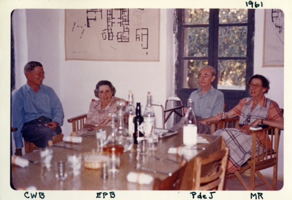Carl, Libbie, Piet de Jong, and Marion Rawson. Photo: ASCSA Archives, Pylos Excavations Archive.