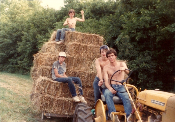 Growing up in Indiana. Tom Brogan driving the family's tracter, 1982.