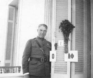 Lieutanent Colonel Edward Capps photographed on the balcony of the ARC headquarters in Athens