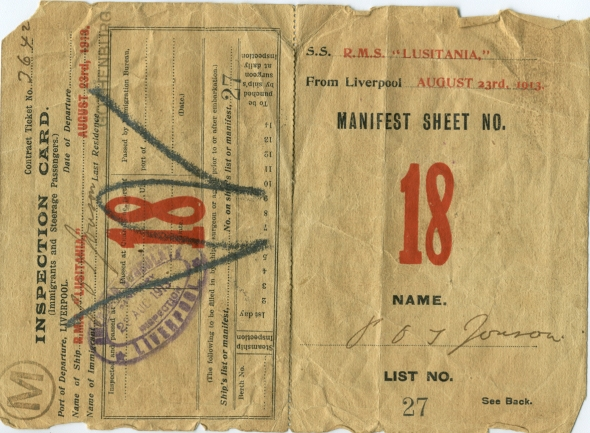 In 1913 Swedish Per Jonson sailed, as an immigrant, to New York. Jonson would later change his name to Oscar Broneer and become a famous American archaeologist. Here his Lusitania ticket (ASCSA, Oscar Broneer Papers)