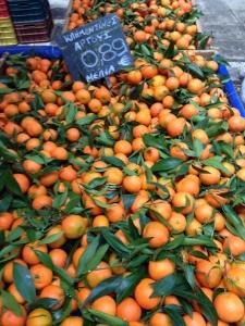 Leafy mandarins at Kolonaki Friday market