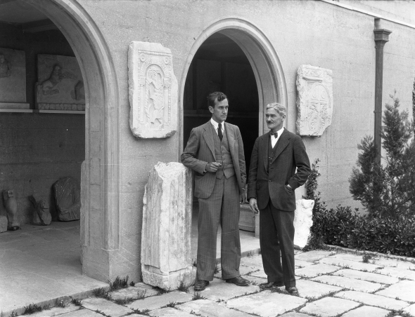 ASCSA Director Richard (Dick) Stillwell and architect W. Stuart Thompson at the opening ceremony of the Corinth Museum, 1934. From the ASCSA Archives, Corinth Excavations.