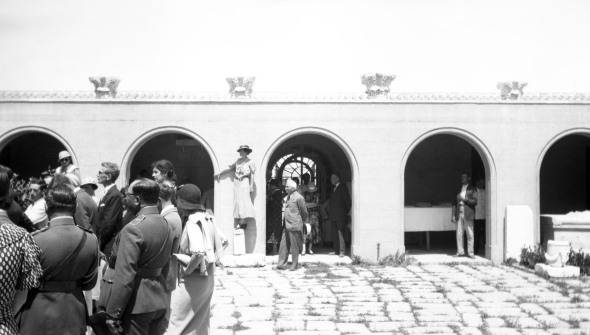From the opening ceremony of the Corinth Museum in April 1934. The gray-hair man standing alone is Konstantinos Kourouniotis. From the ASCSA Archives, Corinth Excavations.