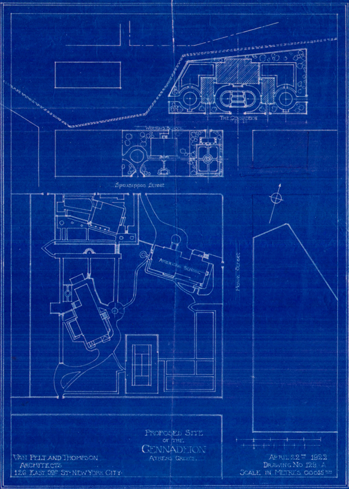 "A blueprint from April 22, 1922 the Womens' Hostel ""blocking"" the Gennadius Library. The pressure to buy the lost of the Bristish School was high."