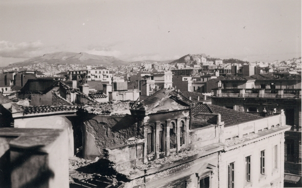 The center of Athens, after the bombing of the city by the British. Photo Gladys Davidson Weinberg, January 1945