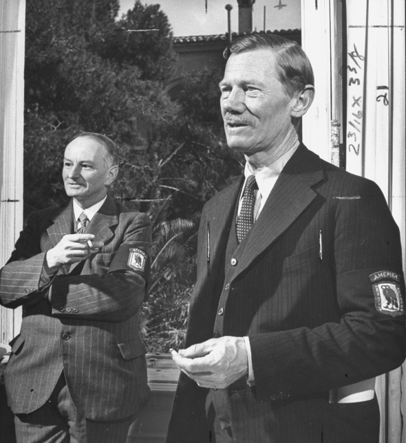 April 1946: US Cultural Relations Attache Carl W. Blegan (R) and J. W. Foster standing in headquarters of the Allied Mission For Observing Greek Elections (AMFOGE). (Photo by Nat Farbman/Time & Life Pictures/Getty Images)