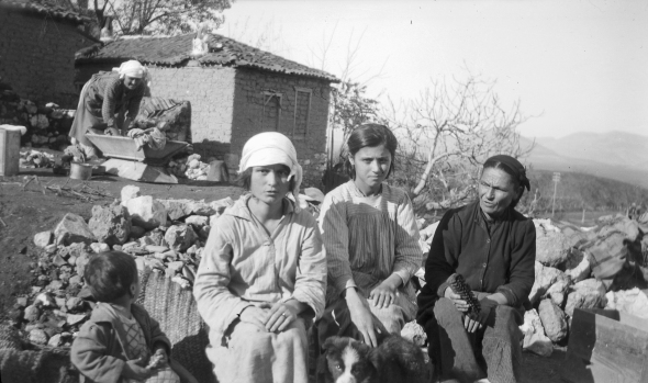 Zoe, Aphrodite, Antigone, Georgia, and grandmother at Parapoungia, 1924. Dorothy would take longs walks with Antigone and her children telling them the story of Sophocles's Antigone