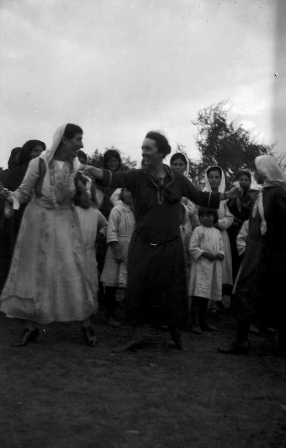 Dorothy Burr dancing with the bride's mother at the wedding.