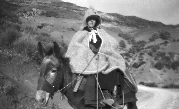 Dorothy Burr with her Vlach cape riding a donkey, 1924. Source: ASCSA, Archives, Dorothy Burr Thompson Photographic Collection