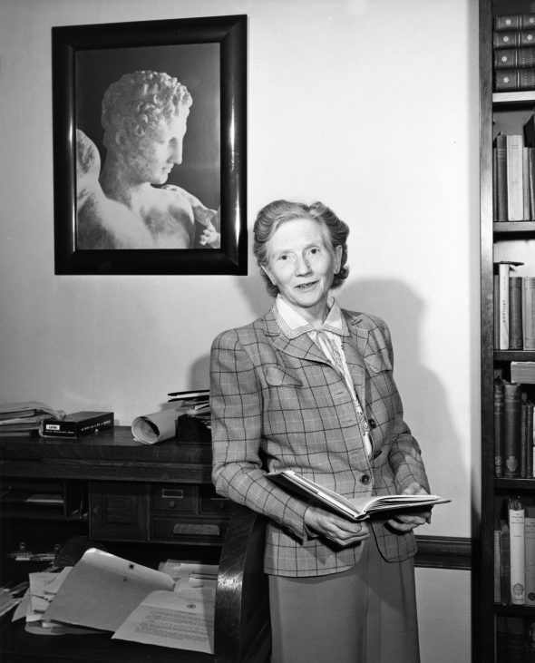 Gertrude E. Smith in her office at the University of Chicago, ca. 1950.