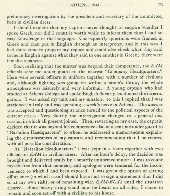 """Excerpt from H.A. Thompson's """"Athens During the Civil War: 1944,"""" University of Toronto Quarterly, 15:2, 1946, p. 173. ASCSA Archives, Homer A. Thompson Papers."""