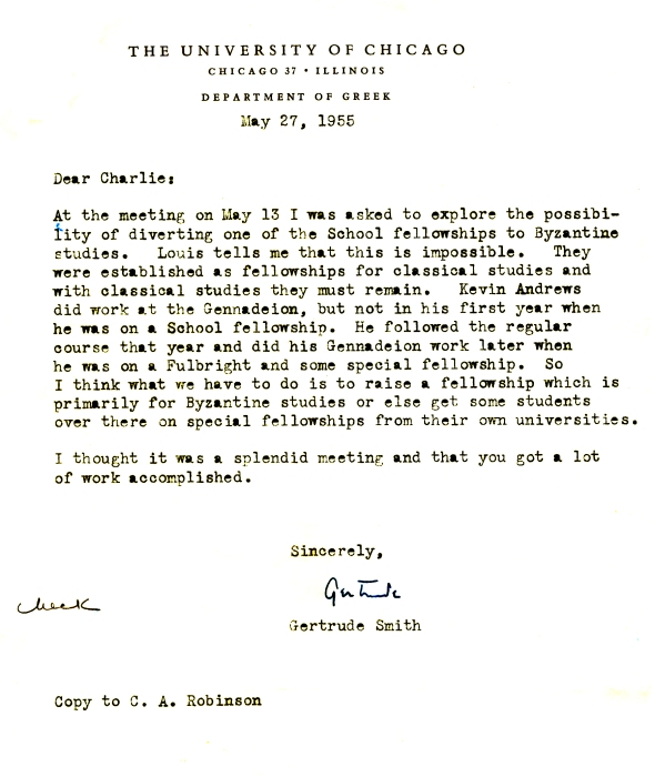 Smith's letter raising awareness to the need for a Gennadeion fellowship. ASCSA Archives, ADM REC.