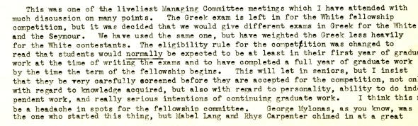 Smith describing to John Caskey, ASCSA director (1949-1959) the atmosphere at the May MC Meeting in 1958.