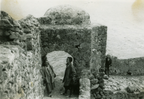 Evelyn Harrison and Anna Benjamin at Monemvasia, Sept. 1949. ASCSA Archives, Evelyn L. Smithson Photographic Collection.
