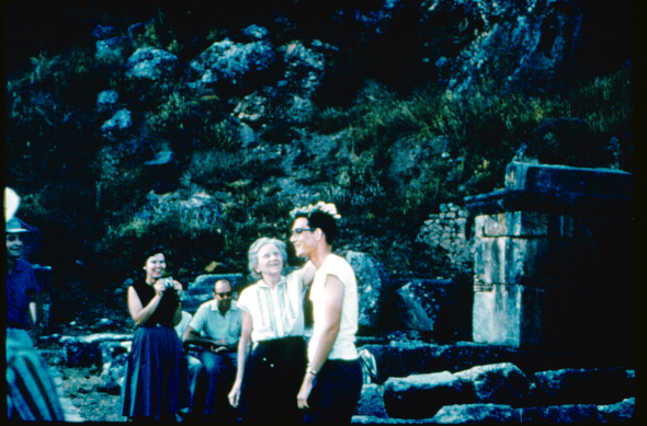 At Delphi with Gertrude Smith crowing a student, summer of 1960. Geraldine Gesell on the left.