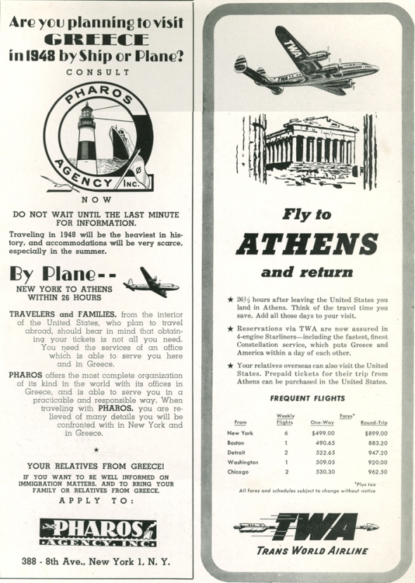 Tourist advertisements in 1948