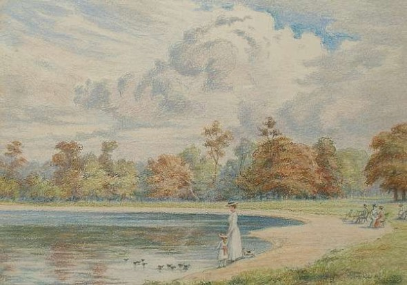View of Kensington Gardens, ca. 1880-1893. By Florence Laing Kennedy. One of four pastels with the same theme.