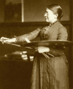 Anna Lea Merritt in her studio, 1886. Photo by Frederick Hollyer.