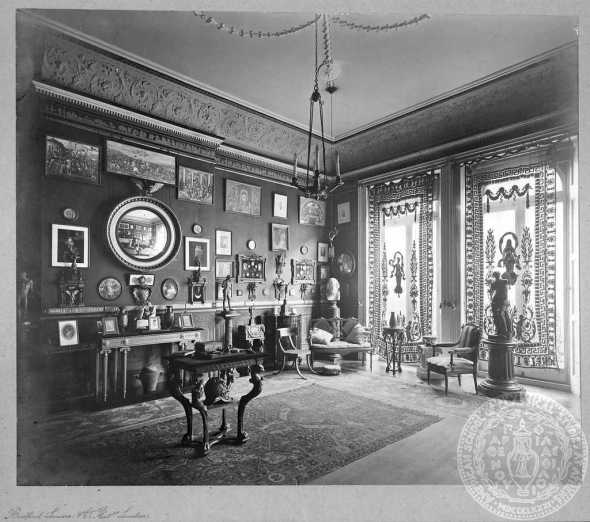 Interior of John and Florence Gennadius's house at 14, De Vere Gardens. Source: ASCSA, Gennadius Library.