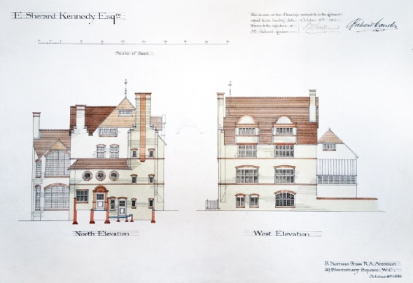 North and west elevation of Walton House. By R. Norman Shaw, 1882-1884.