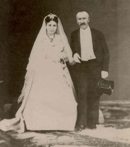 Sophia and Heinrich Schliemann, wedding photo, 1869. She was 17, he was 48 years old.