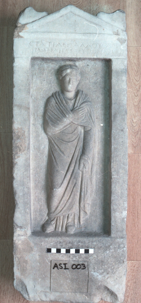 The funerary stele of Statia Thallousa. ASCSA Antiquities Collection.