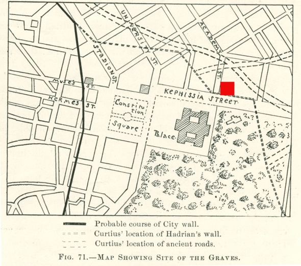 Location of reliefs. After AJA 1895, p. 473.